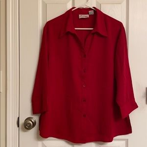 Joanna Plus Red Button Down Blouse Size 1X